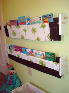 Nursery Storage Green Dandelion Book Sling  by ShopWithCompassion, $25.00