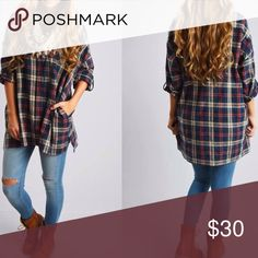 Plaid Oversized Button Down Tunic Length Plaid oversized boyfriend fit button down with roll tab sleeves.. Wear it rolled up or rolled down for full length sleeves. It also has pockets. New without tags! Size medium. Tops Button Down Shirts