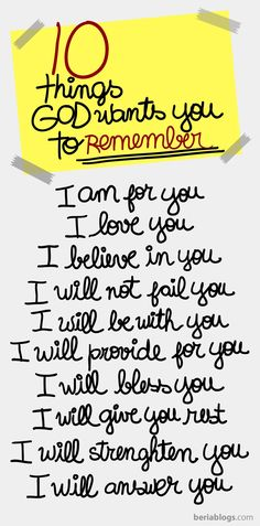 10 things that God wants you to remember! <3