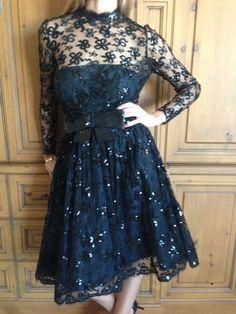 Jean-Louis Couture 1950's Black Bow Sequin Lace Cocktail Dress #JaenLouisCouture #dress #Cocktail