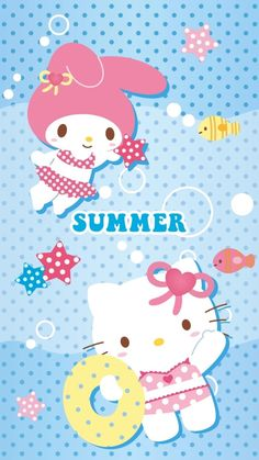 Melody and Kitty in bikinis My Melody Wallpaper, Sanrio Wallpaper, Summer Wallpaper, Iphone Wallpaper, Hello Kitty Pictures, Kitty Images, Little Kitty, Sanrio Hello Kitty, Sanrio Characters