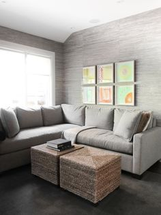 Neutral Living Room | Grasscloth Wallpaper | Rattan Coffee Table | Transitional Interior