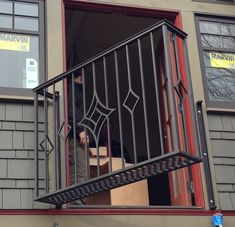 Ballard Forge Seatttle Blacksmith and Ironwork House Main Gates Design, Gate Design, Steel Bed Design, Metal Garden Gates, Balcony Railing Design, Wrought Iron Stairs, Window Grill Design, Steel Stairs, Iron Balcony