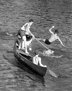 black and white vintage fun canoe tipping photograph, summer home decor, boys playing on canoe, art and collectibles, wall art Vintage Wall Art, Vintage Walls, Vintage Photographs, Vintage Images, Lake Photography, White Lake, Vintage Boats, Black And White Wall Art, Aesthetic Vintage