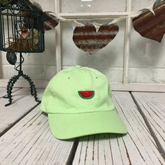 606b5af42f9 New Watermelon Embroidery Lime Green Baseball by PrfctoLifestyle Green  Baseball Cap