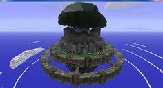 Minecraft floating island with massive tree and castle like structures