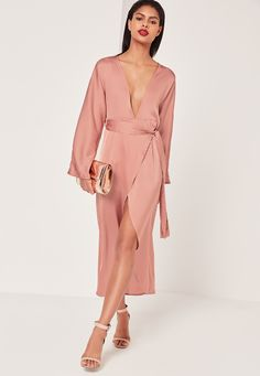 This blush pink silky maxi dress in our fave figure flattering kimono style is the perfect dress for all occasions!