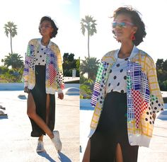 Get this look: http://lb.nu/look/6044941  More looks by Luna Nova: http://lb.nu/user/1256395-Luna-N  Items in this look:  Vintage Triangle Earrings, Vintage Mix Print Shirt Jacket, Thrifted Double Slits Skirt, Thrifted Platform Sneakers   #mixprints