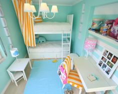 Marvelous Bunk Bed Idea For Teen Girl with Blue Wall Paint Color and Stunning White Pendant Lamps and Quite Small Study Desk Idea and Striped White-Orange Chair Paint Color and Table Lamp