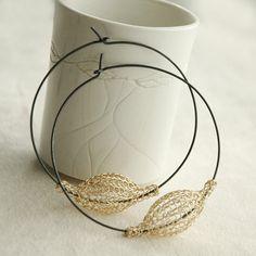 Orecchini oro extra-large cerchietto a mano maglia jewelry