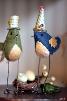 Wool felt birds - could be made for any holiday really