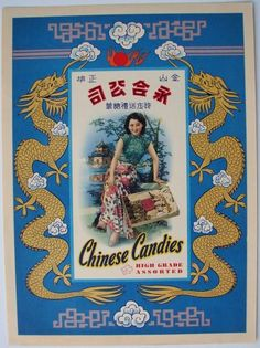 Shanghai girl used in advertisement and labels for  CHINESE CANDIES, Vintage Candy Box Label