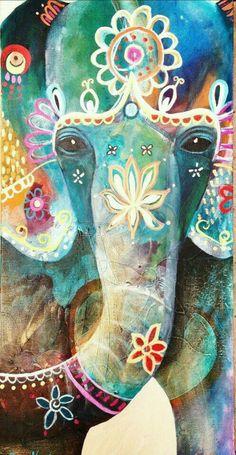 Ganesha by Tracy Verdugo Art Indien, Elefante Hindu, Arte Sketchbook, Elephant Love, Indian Elephant Art, Draw An Elephant, Elephant Brain, Elephant India, Elephant Canvas
