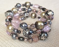 Soft Pink Gray Champagne and Silver by PeacocksandLeopards on Etsy $24