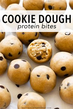 These easy to make protein bites are made from just 6 basic ingredients and taste just like cookie dough Perfect onthego or preworkout snack Recipe on Cookie Dough Vegan, Protein Cookie Dough, Cookie Dough Recipes, Protein Cookies, Healthy Cookies, Protein Muffins, Healthy Protein Snacks, Protein Bites, Healthy Sweets