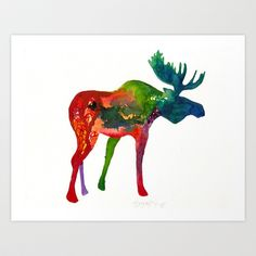 Moose Art Print by HayleyJLK - $18.00