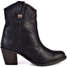 Frye Shoes Women's Jackie Button Short 76580- Black (300 CHF) via Polyvore