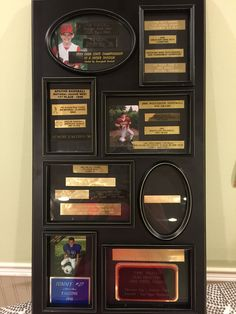 What to do with all those old trophies? Gently remove the trophy faceplate and organize by either sport or year into a collage style frame. Add pictures or other memorabilia. Old Trophies, Sports Trophies, Trophies And Medals, Trophy Craft, Trophy Plates, Trophy Display, Award Display, Shadow Box, Diy Projects