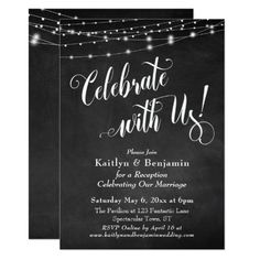 Chalkboard String Lights Just Married Reception Card - marriage invitations wedding party cards invitation Wedding Reception Cards, Wedding Party Invites, Rehearsal Dinner Invitations, Post Wedding, Wedding Gifts, Wedding Ceremony, Wedding Rehearsal, Wedding Rsvp, Wedding Cards