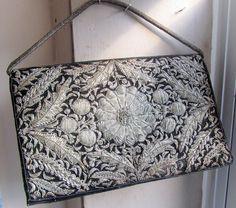 Vintage 1940s  Black Velvet Silver Embroidered Evening Bag / Made in India. $22.00, via Etsy.