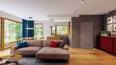 Projekt domu Murator C333u Miarodajny - wariant XVIII 99,20 m² - koszt budowy - EXTRADOM 20 M2, Villa, Vogue, Couch, Furniture, Home Decor, Settee, Decoration Home, Sofa