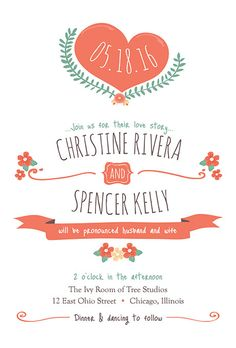 This @lovevsdesign wedding invitation has a sweet, playful feel to it | Brides.com