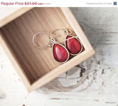 Red Rose drop earrings  Petals Flower jewelry  Wine by BeautySpot, $17.85