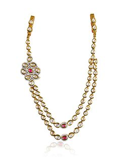 Kandora in vilandi, american diamonds and ruby stone in gold finish