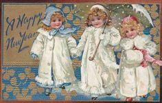 Happy New aYear ... Antique postcard.