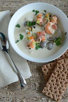 Fish Chowder, Chowder Soup, Fish Soup, Fish Recipes, Seafood Recipes, Soup Recipes, Salad Recipes, Norwegian Cuisine, Norwegian Food