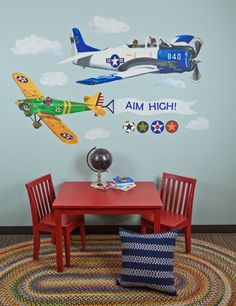 """Airplanes"" - Wall Decals from Oopsy daisy, Fine Art for Kids. These are repositionable!"
