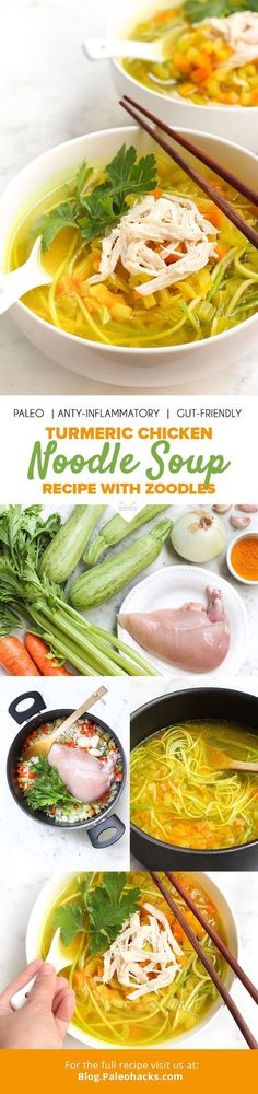 This Turmeric Chicken Soup with Zucchini Noodles is the perfect remedy for a chilly night. Filled with fresh veggies, lean protein and anti-inflammatory turmeric, it's the perfect meal to cozy up to! Get the recipe here: http://paleo.co/turmchickensoup
