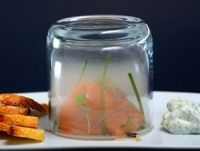 Molecular gastronomy: smoked salmon and dill cream.