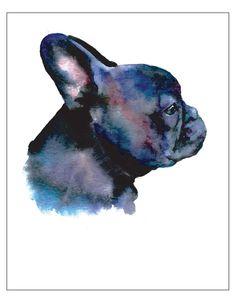 Black French Bulldog Frenchie profile  -  Dog Pet Portrait fine art watercolor print