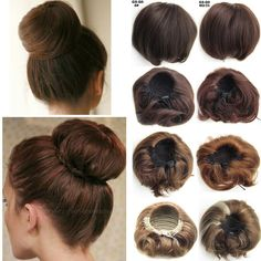 Details about Women Straight Bun Hair Piece Scrunchie Updo Cover Hair Extensions Real Natural - Modern Bun Updo, Braided Updo, Best Ombre Hair, Ombre Hair Color, Box Braids Hairstyles, Mega Hair Tic Tac, Box Braids Pictures, Twist Braids, Twist Hair