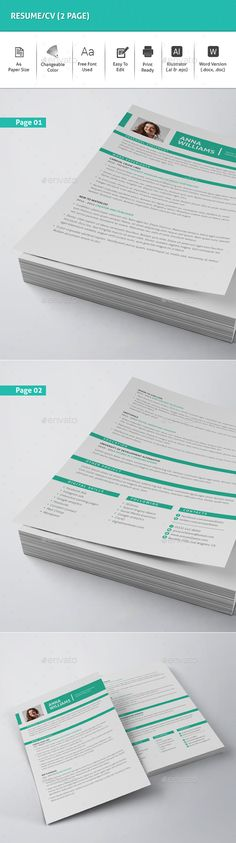 Resume\/CV Cv template, Ai illustrator and Resume - illustrator resume