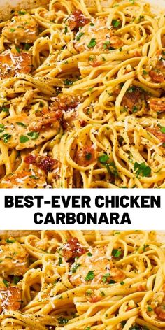 When you're looking for something comforting and carb-y, nothing fits the bill like a good carbonara. This version adds a … When you're looking for something comforting and carb-y, nothing fits the bill like a good carbonara. This version adds a … Chicken Carbonara Recipe, Best Carbonara Recipe, Pasta Carbonara, Pasta Facil, Cooking Recipes, Healthy Recipes, Healthy Chef, Eat Healthy, Food Dinners