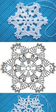 Wonderful DIY Crochet Snowflakes With Pattern - Szydełko Crochet Snowflake Pattern, Crochet Stars, Christmas Crochet Patterns, Holiday Crochet, Crochet Snowflakes, Crochet Flowers, Christmas Knitting, Diy Flowers, Crochet Diy