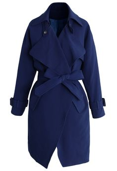 Textured Belted Trench Coat in Indigo Blue - Tops - Retro, Indie and Unique Fashion