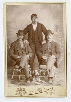 CABINET CARD,Vintage Photo, Three Gents & Springer Spaniel Dog,Johnstown,PA