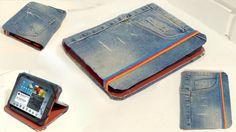 Funda para tablet reciclando unos pantalones jeans
