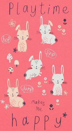 Fun Prints, Artwork Prints, Cute Kawaii Girl, Cute Bunny, Hunny Bunny, Baby Girl Pajamas, Colorful Animals, Hoppy Easter, Sketchbook Inspiration