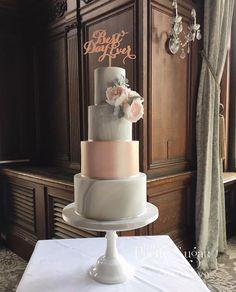 Grey marble rose gold wedding cake