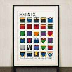 Superhero Underwear ヒーローのパンツ デザインポスター by Design Different