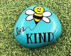 Rock Painting Ideas Discover Bee Kind Painted Rock Be Kind Stone Kindness Encouragement Rock Affirmation Stone Hand Painted Rock Christmas gift stocking stuffer Rock Painting Patterns, Rock Painting Ideas Easy, Rock Painting Designs, Easy Paint Designs, Rock Painting For Kids, Cute Easy Paintings, Easy Painting Projects, Happy Paintings, Face Paintings