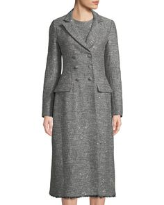 Lela Rose Double-breasted Seamed Tweed Coat W/ Fringe Hem In Gray Pattern Sequin Coats, Kimono Coat, Tweed Coat, Cashmere Coat, Lela Rose, Double Breasted Coat, Flare Dress, Fit And Flare, Dresses For Work