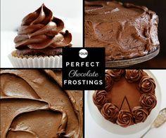 Four Perfect Chocolate Frostings, fudge frosting Best Chocolate Frosting Recipe, Brownie Frosting, Chocolate Desserts, Decadent Chocolate, Cake Icing, Chocolate Buttercream, Chocolate Chocolate, Sweet Recipes, Cake Recipes