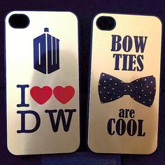 Doctor Who plastic iPhone 4 Case iphone 4s Cover - Gold Choose design - Bowties are cool or I heart DW Dr who. $16.99, via Etsy.
