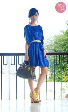 royal blue satin + prada + yellow heels