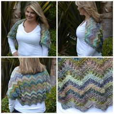"""Free Crochet Pattern: Chevron Lace Shrug Sizes-S 32"""" W x 20"""" L, M- 36"""" W x 24"""" L, L- 40"""" W X 28 L. This Pattern Can Also Be Resized Smaller Or Larger From http://www.glamour-4-you.com/blog/red-heart-yarn-review-free-pattern"""